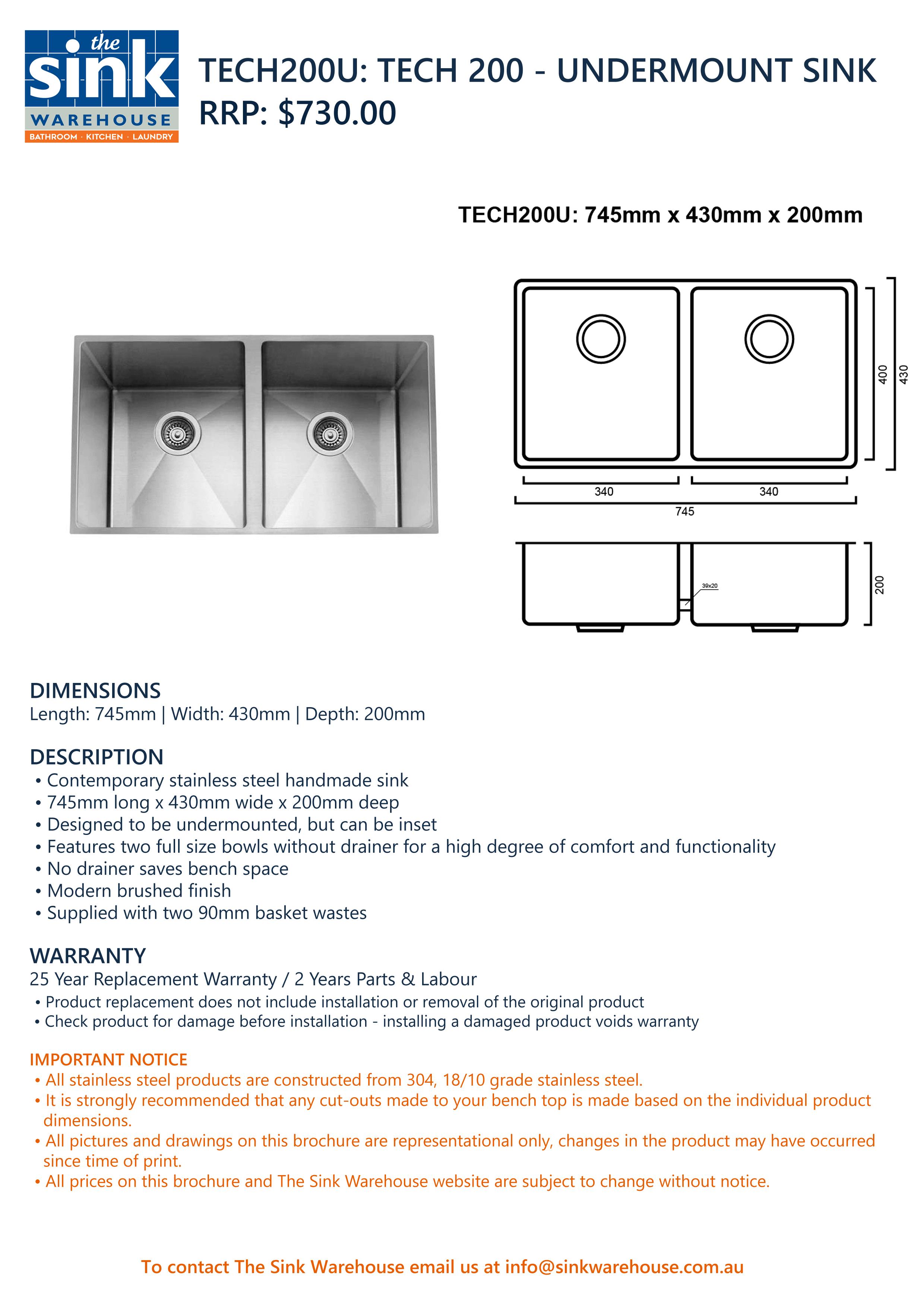 Tech 200U Sink