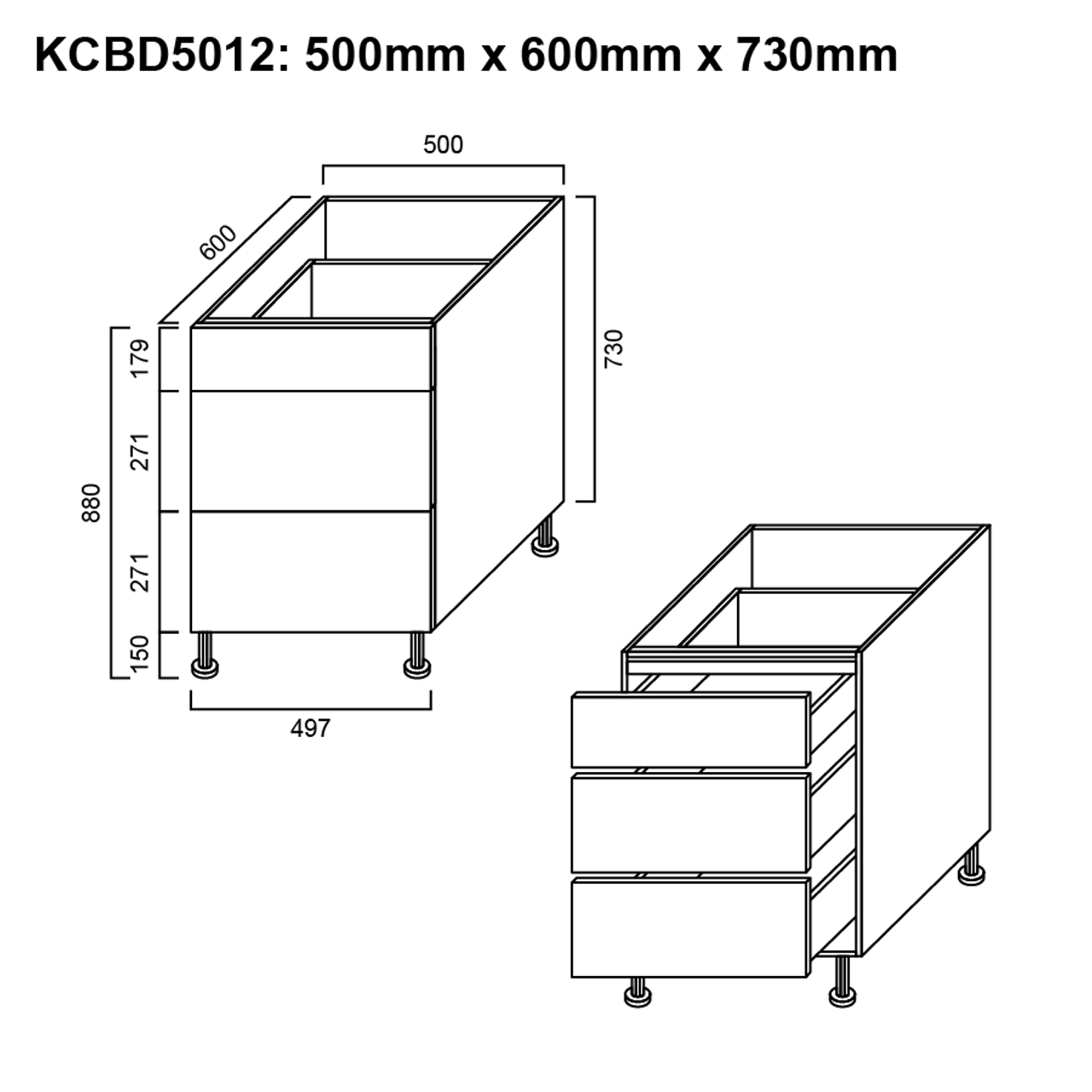 Picture of: Base Cabinet 3 Drawer 500mm The Sink Warehouse Shop Now