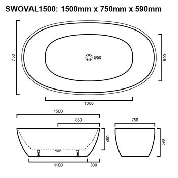 Oval - Black Freestanding Bath 1500mm