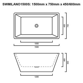 Milano - White Freestanding Bath 1500mm