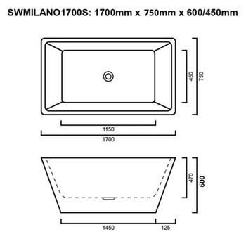 Milano - White Freestanding Bath 1700mm