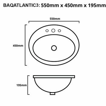 Atlantic - White Inset Basin 3 Tap Hole