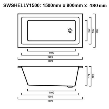 Shelly - White Inset Bath 1500mm