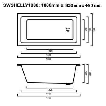Shelly - White Inset Bath 1800mm