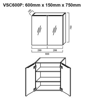 Pencil-Edged Shaving Cabinet 600mm