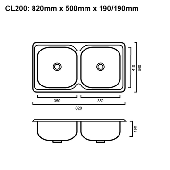 Classic 200ND - No Drainer Inset Sink