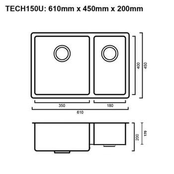 Tech 150U - Stainless Steel Undermount Sink