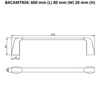 Cam - Chrome Single Towel Rail 600mm
