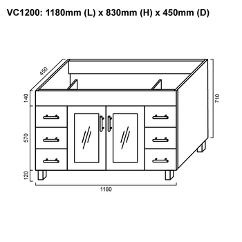 Cube - Floor Mounted Vanity and Top 1200mm
