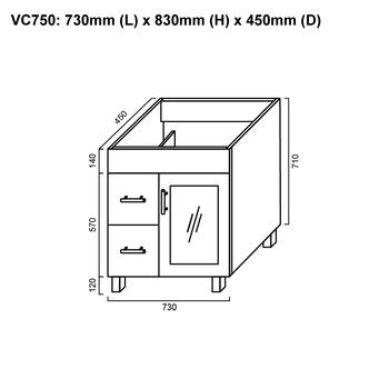 Cube - Floor Mounted Vanity and Top 750mm