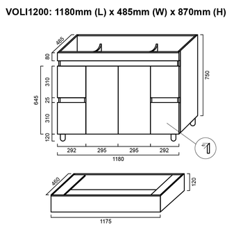 Olivia - Floor Mounted Vanity and Top 1200mm