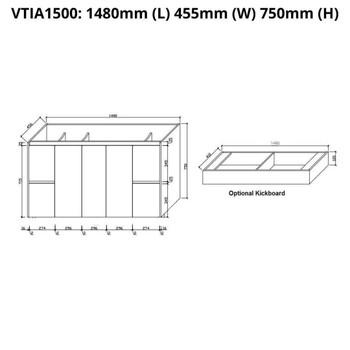 Tia - Floor Mounted Vanity and Top 1500mm