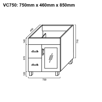 Cube - Vanity Only 750mm