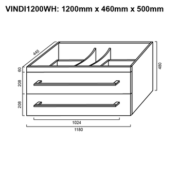 Indi - Wall Hung Vanity Only 1200mm