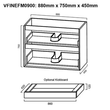 Fineline - Floor Mounted Vanity and Top 900mm