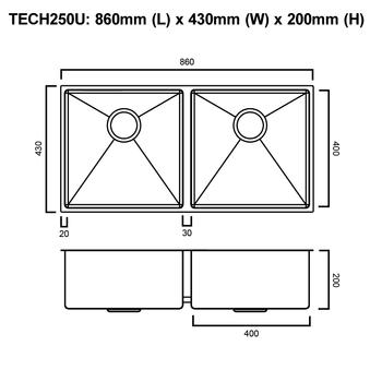 Tech 250U - Stainless Steel Undermount Sink