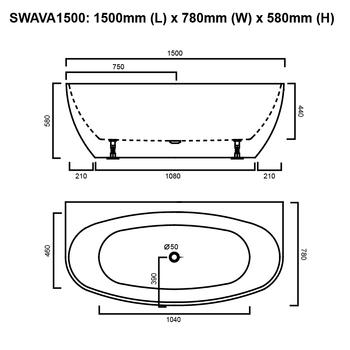 Ava - Black Freestanding Bath 1500mm