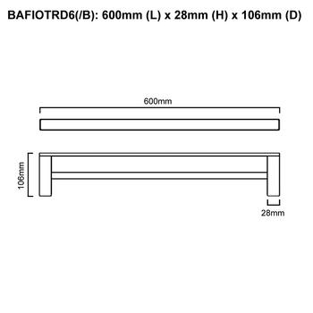 Fiona - Black Double Towel Rail 600mm