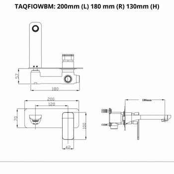 Fiona - Gun Metal Wall Bath Mixer With Spout