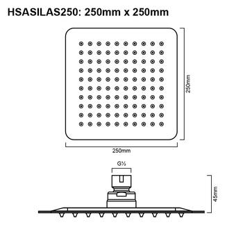 Silas - Brushed Nickel Stainless Steel Shower Head 250mm