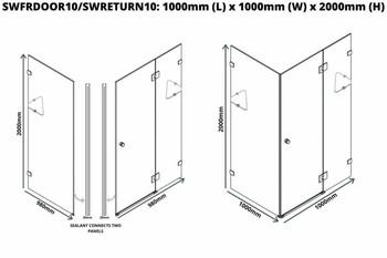 Frameless Shower Cubicle 1000mm