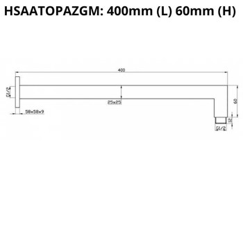 Topaz - Shower Arm Gun Metal