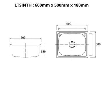 Lifestyle - Inset Laundry Trough 45L No Taphole