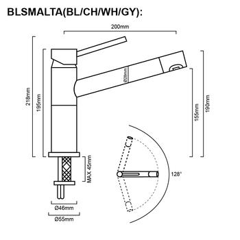 Blanco Alta - Dark Black Sink Mixer
