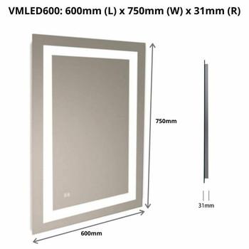 LED Mirror Rectangular Sensor Reversible 600mm