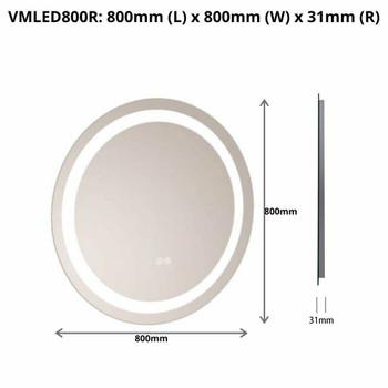 LED Mirror Round Sensor Reversible 800mm