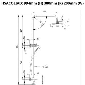 Jade - Brushed Gold Shower Column Combo Set