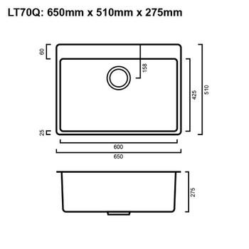 Quadro 70L - Gun Metal Laundry Trough