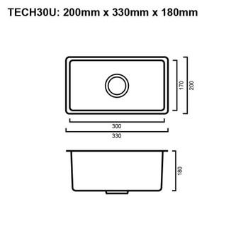 Tech 30U - Gun Metal Undermount Sink