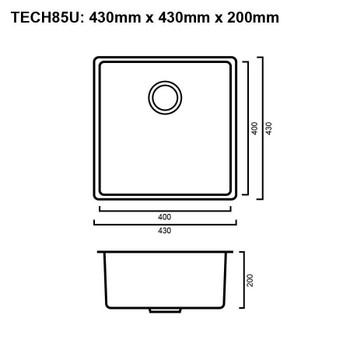 Tech 85U - Gun Metal Undermount Sink