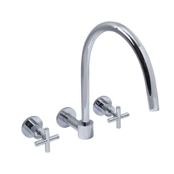 Boston - Chrome Wall Sink Tap Set