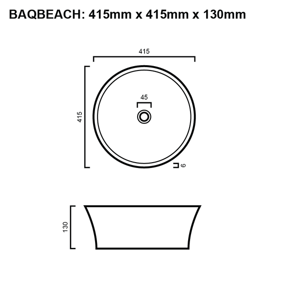 Beach - White Above Counter Basin