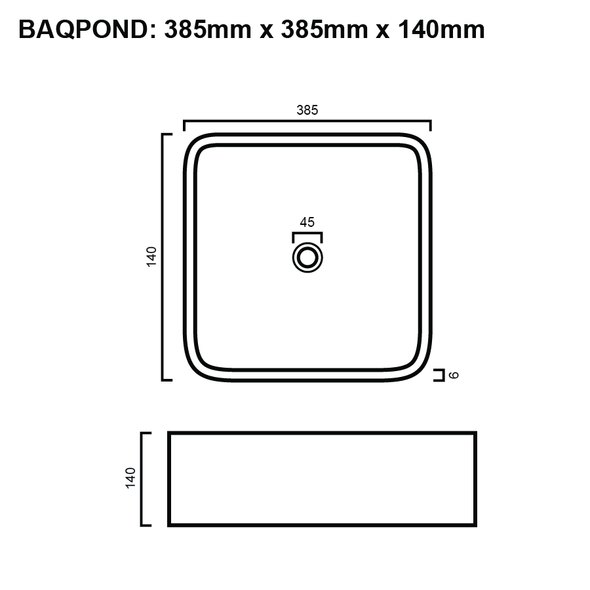 Pond - White Above Counter Basin