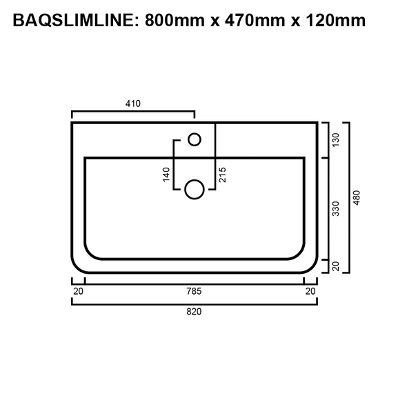 Slimline - White Above Counter Basin