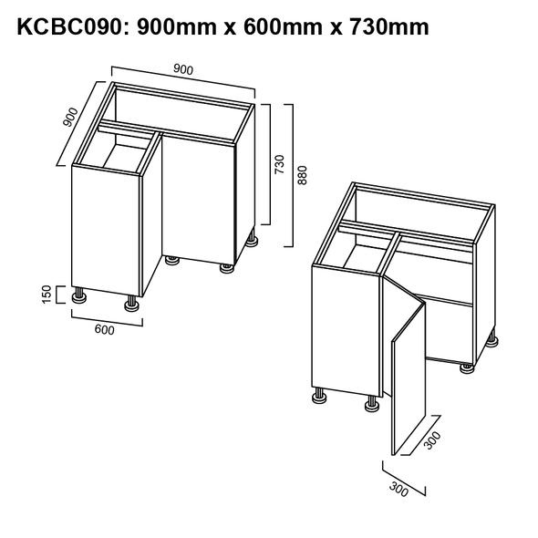 Base Cabinet - Corner 900mm