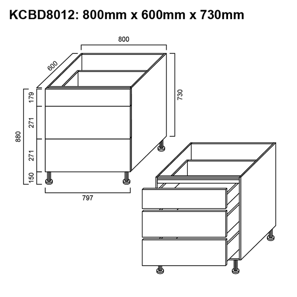 Base Cabinet - 3 Drawer 800mm