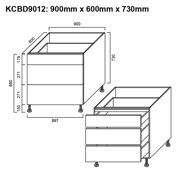Base Cabinet - 3 Drawer 900mm