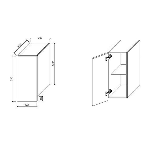 Wall Cabinet - Single Door 300mm