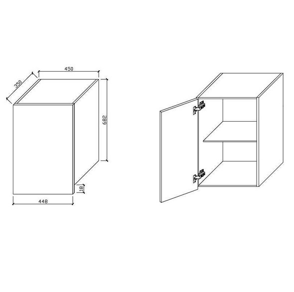 Wall Cabinet - Single Door 450mm