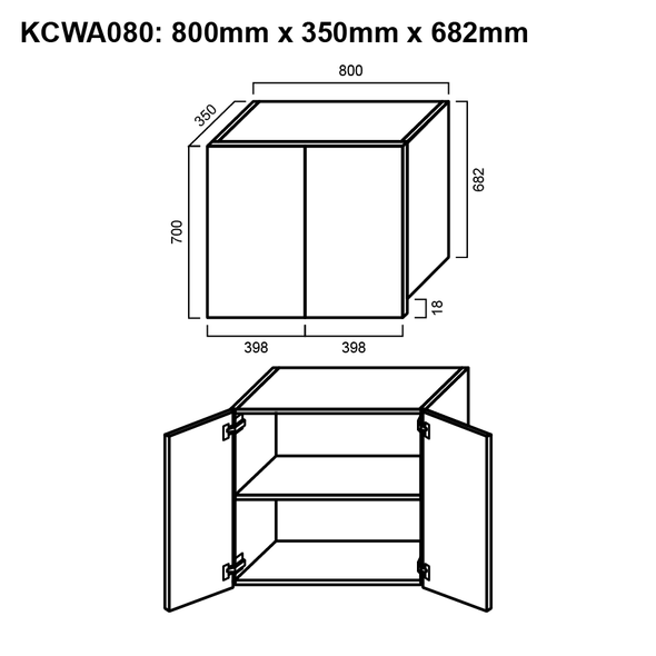 Wall Cabinet - Double Door 800mm