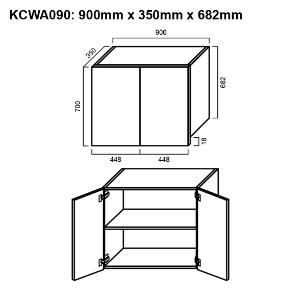 Wall Cabinet - Double Door 900mm