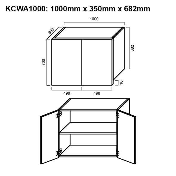 Wall Cabinet - Double Door 1000mm