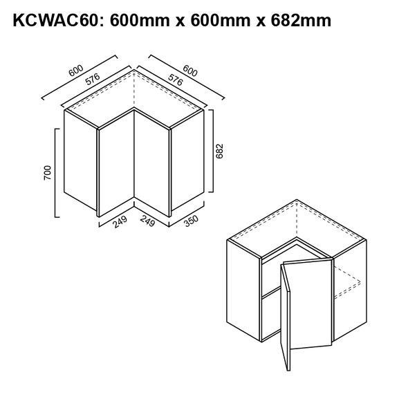 Wall Cabinet - Corner 600mm