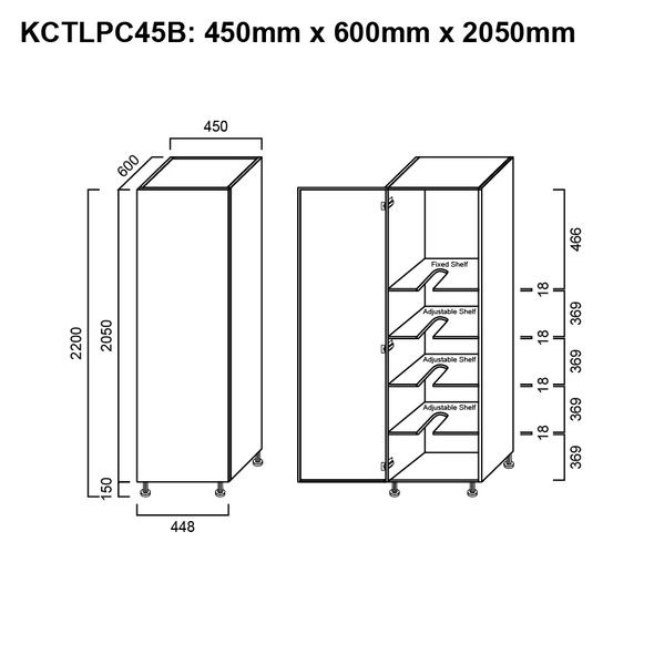 Laundry Cabinet Single Door 450mm Broom Cupboard