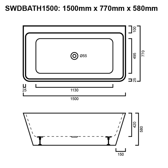 D-Bath - White Freestanding Bath 1500mm