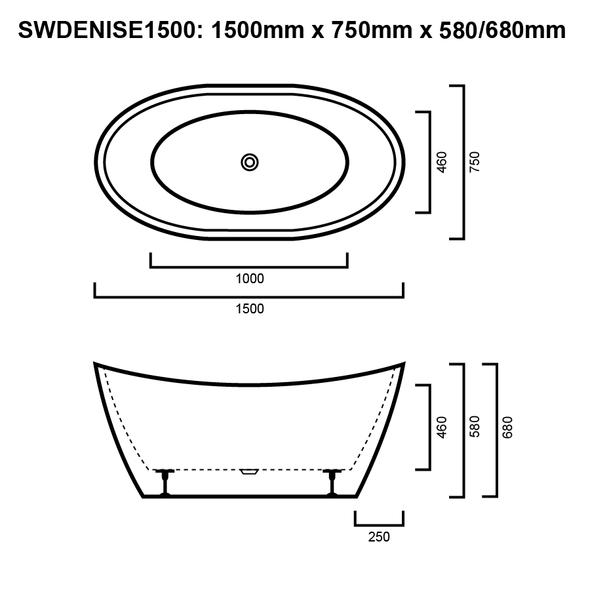 Denise - Black Freestanding Bath 1500mm